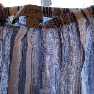 White Blue Striped Off Shoulder Long Sleeve Loft